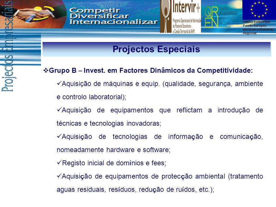 Projectos Especiais Grupo B – Invest. em Factores Dinâmicos da Competitividade: