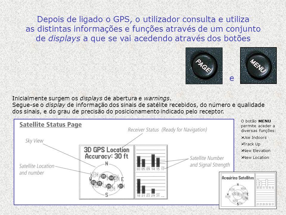 Depois de ligado o GPS, o utilizador consulta e utiliza