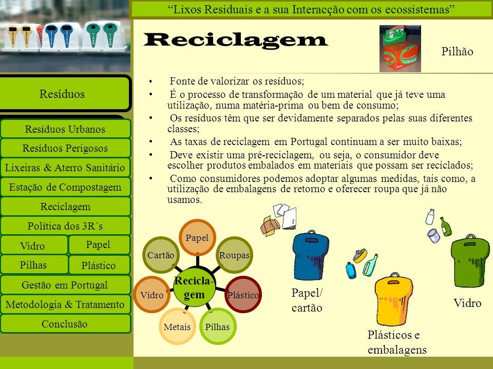Reciclagem Lixos Residuais e a sua Interacção com os ecossistemas