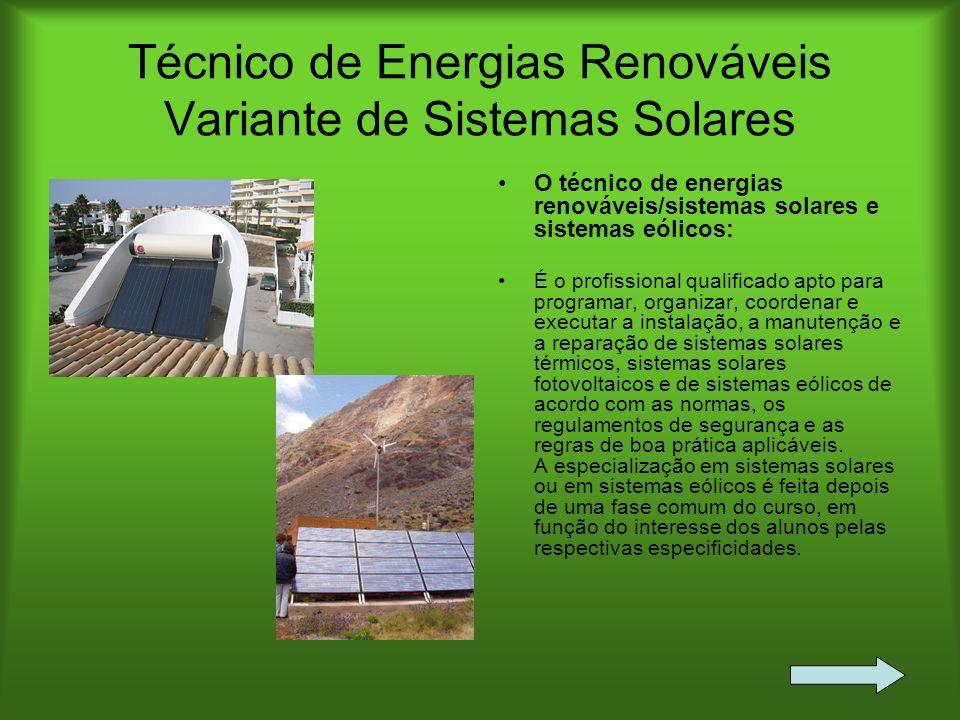 Técnico de Energias Renováveis Variante de Sistemas Solares