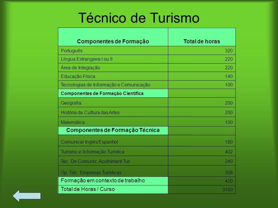 Componentes de Formação Técnica Componentes de Formação