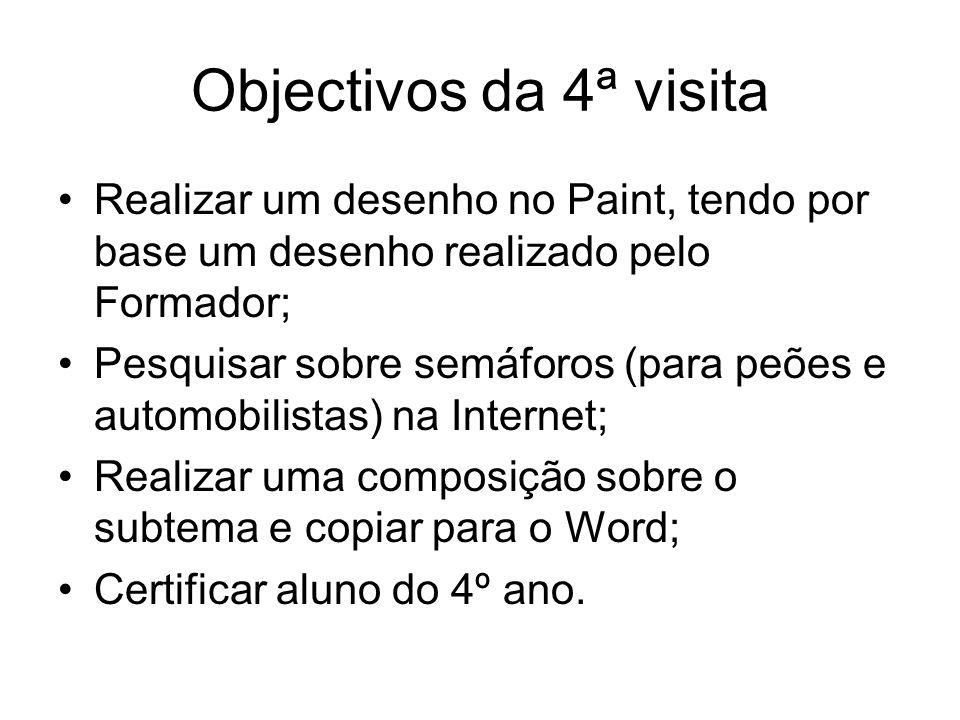 Objectivos da 4ª visitaRealizar um desenho no Paint, tendo por base um desenho realizado pelo Formador;