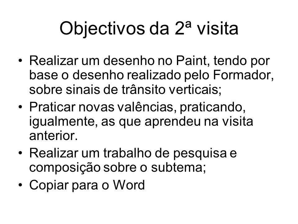 Objectivos da 2ª visitaRealizar um desenho no Paint, tendo por base o desenho realizado pelo Formador, sobre sinais de trânsito verticais;