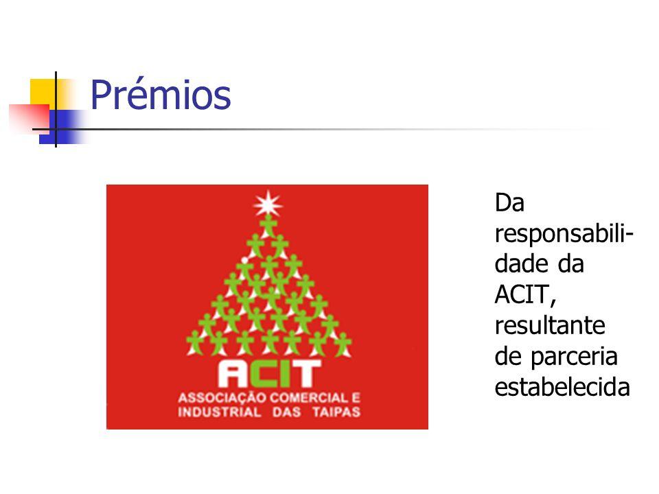 Prémios Da responsabili-dade da ACIT, resultante de parceria estabelecida