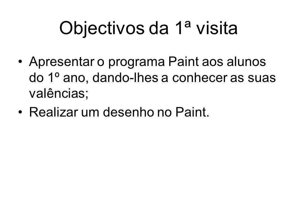 Objectivos da 1ª visita Apresentar o programa Paint aos alunos do 1º ano, dando-lhes a conhecer as suas valências;