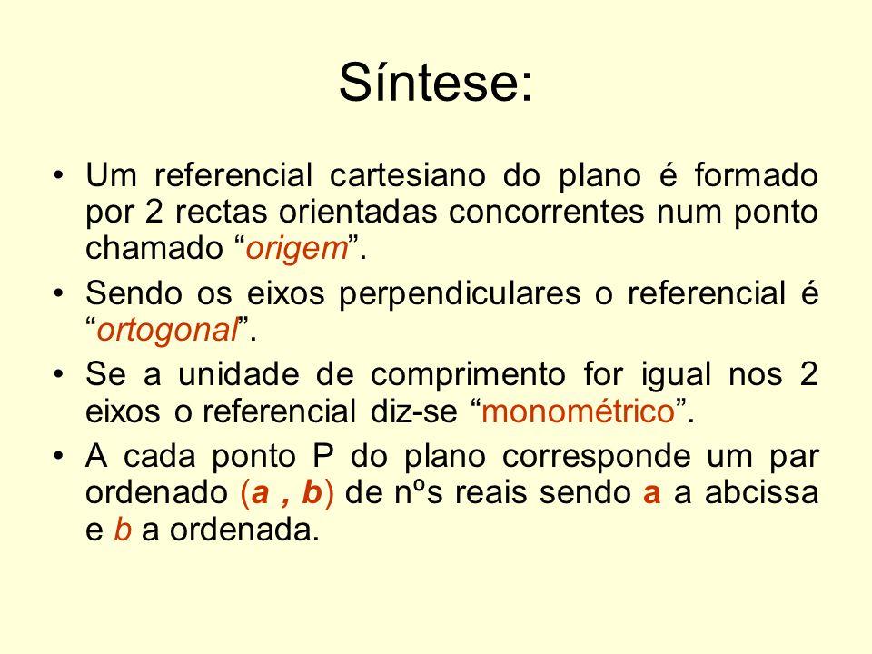 Síntese: Um referencial cartesiano do plano é formado por 2 rectas orientadas concorrentes num ponto chamado origem .