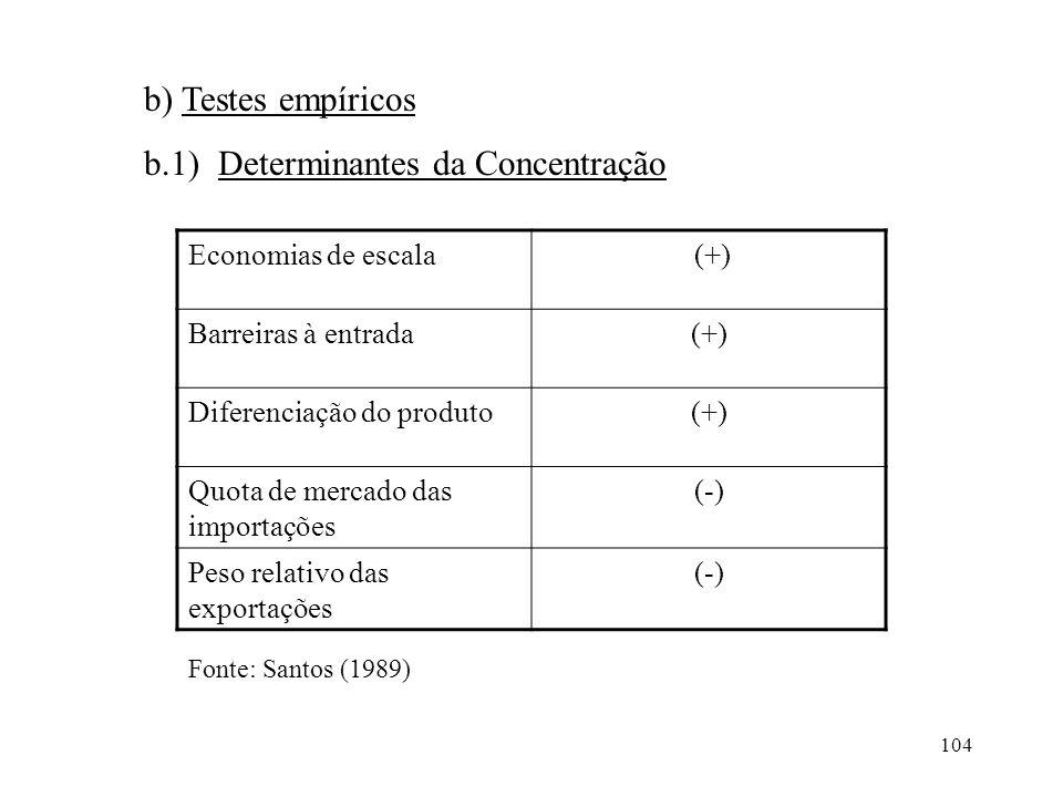 b.1) Determinantes da Concentração