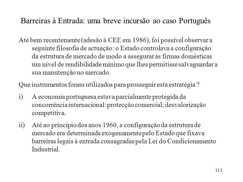Barreiras à Entrada: uma breve incursão ao caso Português