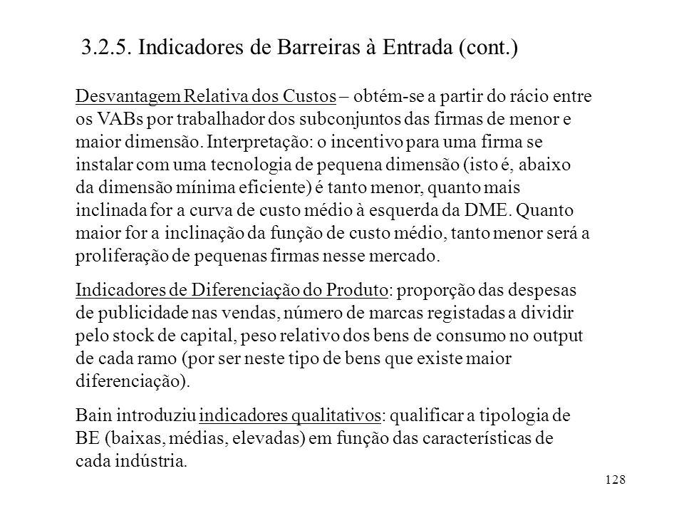 3.2.5. Indicadores de Barreiras à Entrada (cont.)