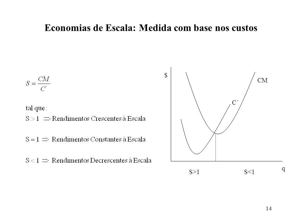 Economias de Escala: Medida com base nos custos