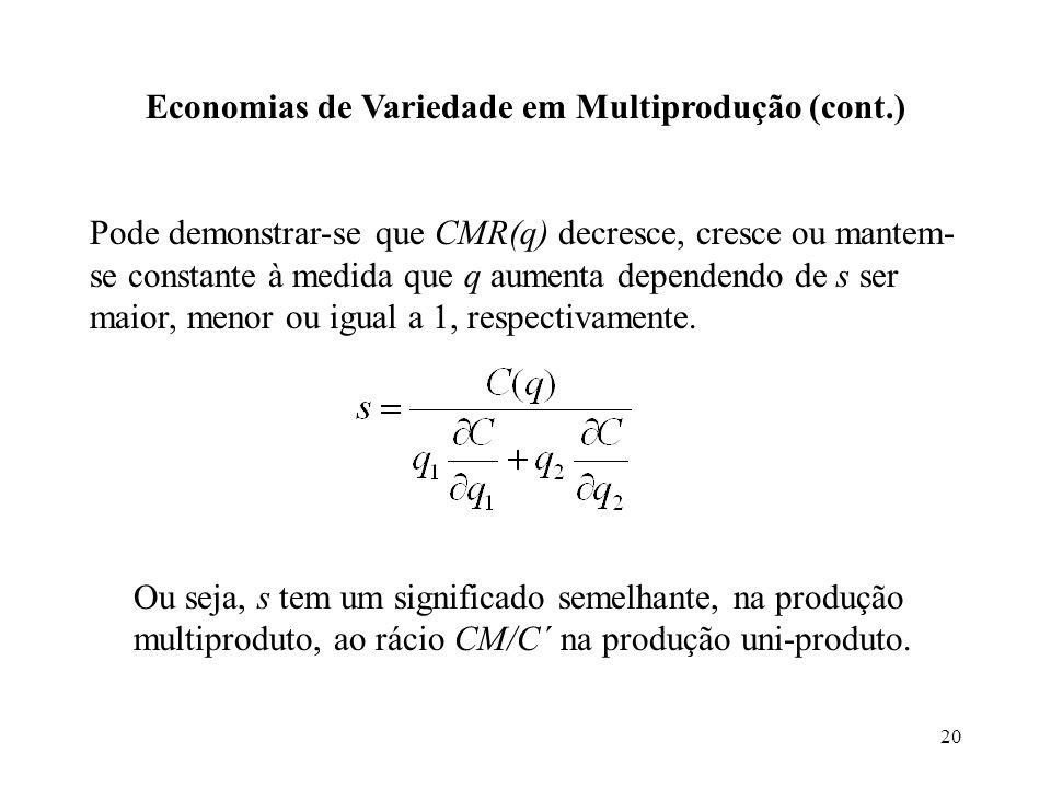 Economias de Variedade em Multiprodução (cont.)