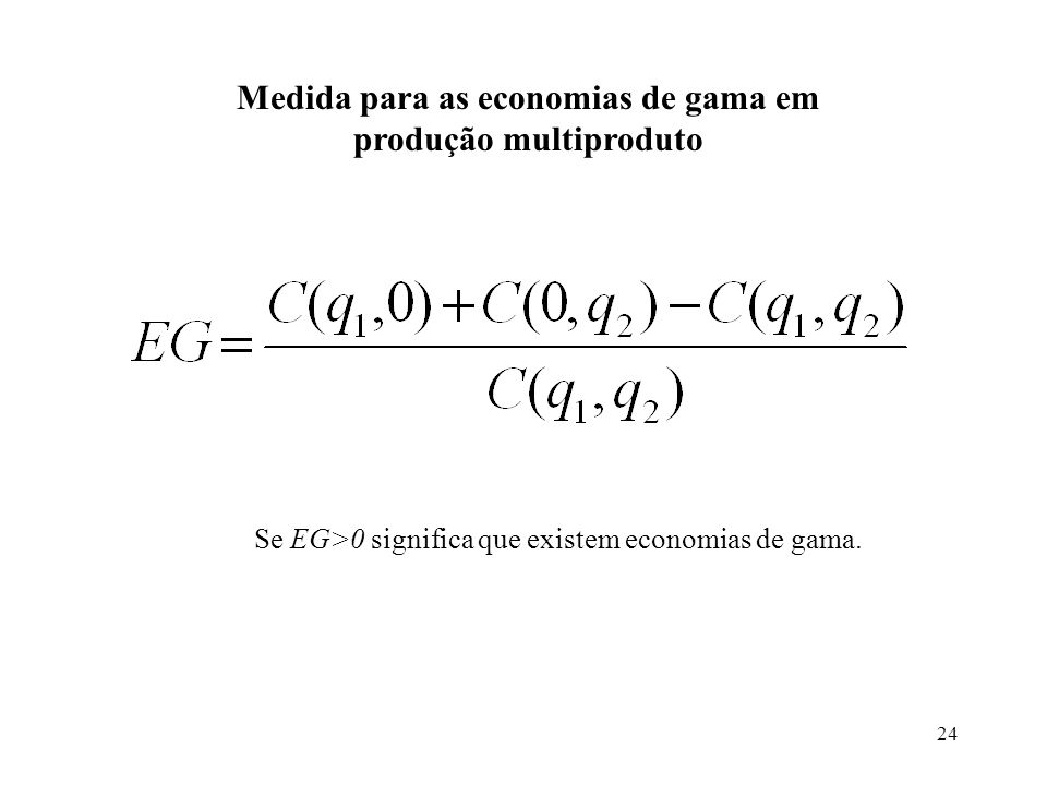 Medida para as economias de gama em produção multiproduto