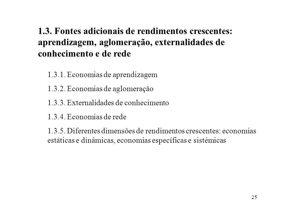 1.3. Fontes adicionais de rendimentos crescentes: aprendizagem, aglomeração, externalidades de conhecimento e de rede