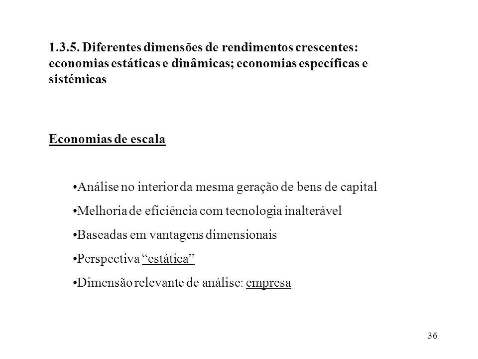 1.3.5. Diferentes dimensões de rendimentos crescentes: economias estáticas e dinâmicas; economias específicas e sistémicas