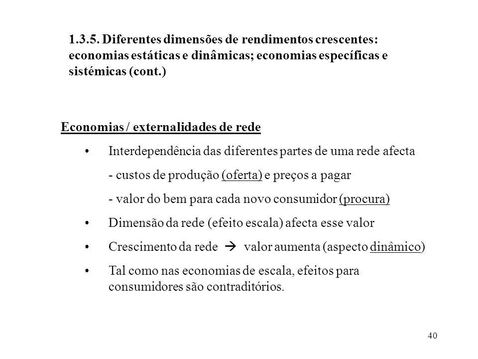 1.3.5. Diferentes dimensões de rendimentos crescentes: economias estáticas e dinâmicas; economias específicas e sistémicas (cont.)