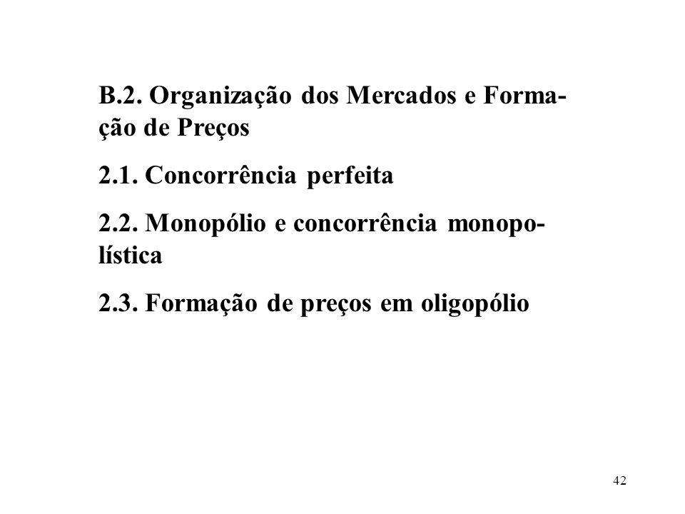 B.2. Organização dos Mercados e Forma-ção de Preços