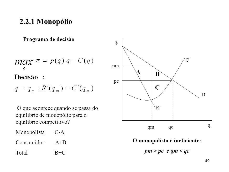 O monopolista é ineficiente: