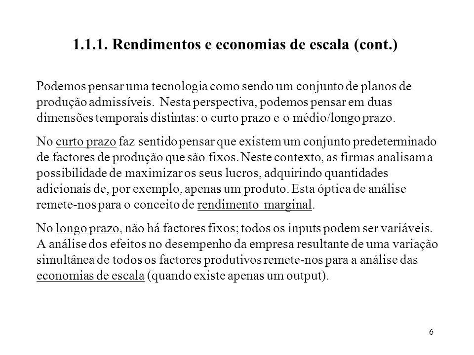 1.1.1. Rendimentos e economias de escala (cont.)