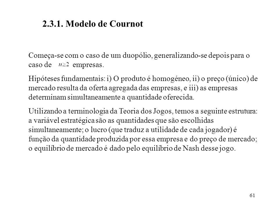 2.3.1. Modelo de Cournot Começa-se com o caso de um duopólio, generalizando-se depois para o caso de empresas.