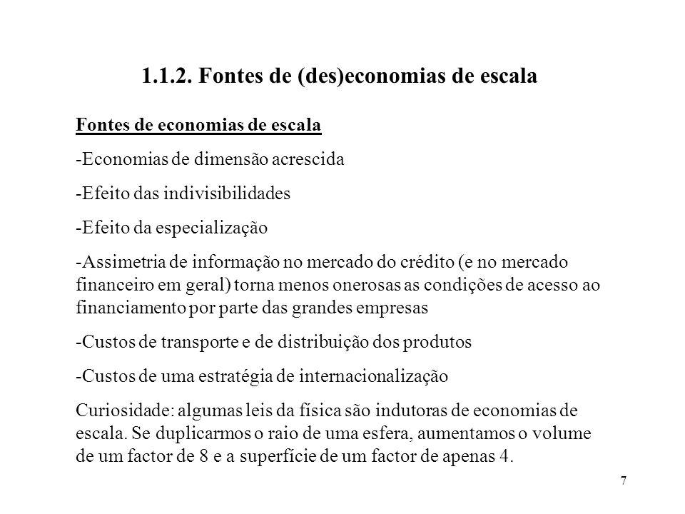 1.1.2. Fontes de (des)economias de escala