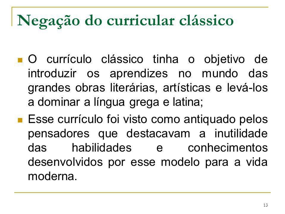 Negação do curricular clássico