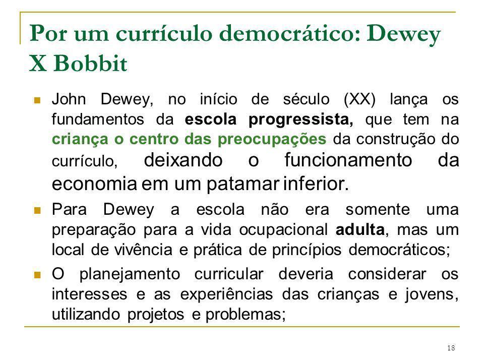 Por um currículo democrático: Dewey X Bobbit
