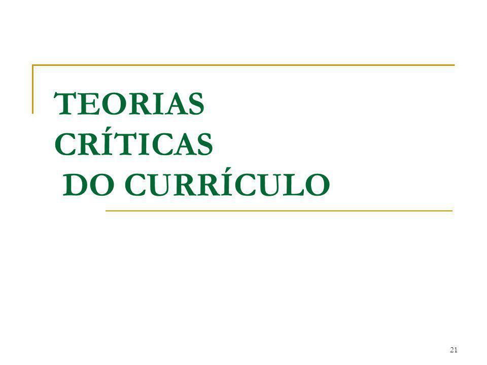 TEORIAS CRÍTICAS DO CURRÍCULO