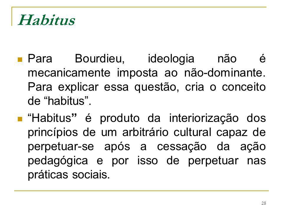 Habitus Para Bourdieu, ideologia não é mecanicamente imposta ao não-dominante. Para explicar essa questão, cria o conceito de habitus .