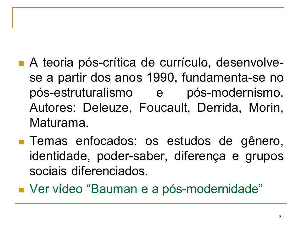 A teoria pós-crítica de currículo, desenvolve-se a partir dos anos 1990, fundamenta-se no pós-estruturalismo e pós-modernismo. Autores: Deleuze, Foucault, Derrida, Morin, Maturama.
