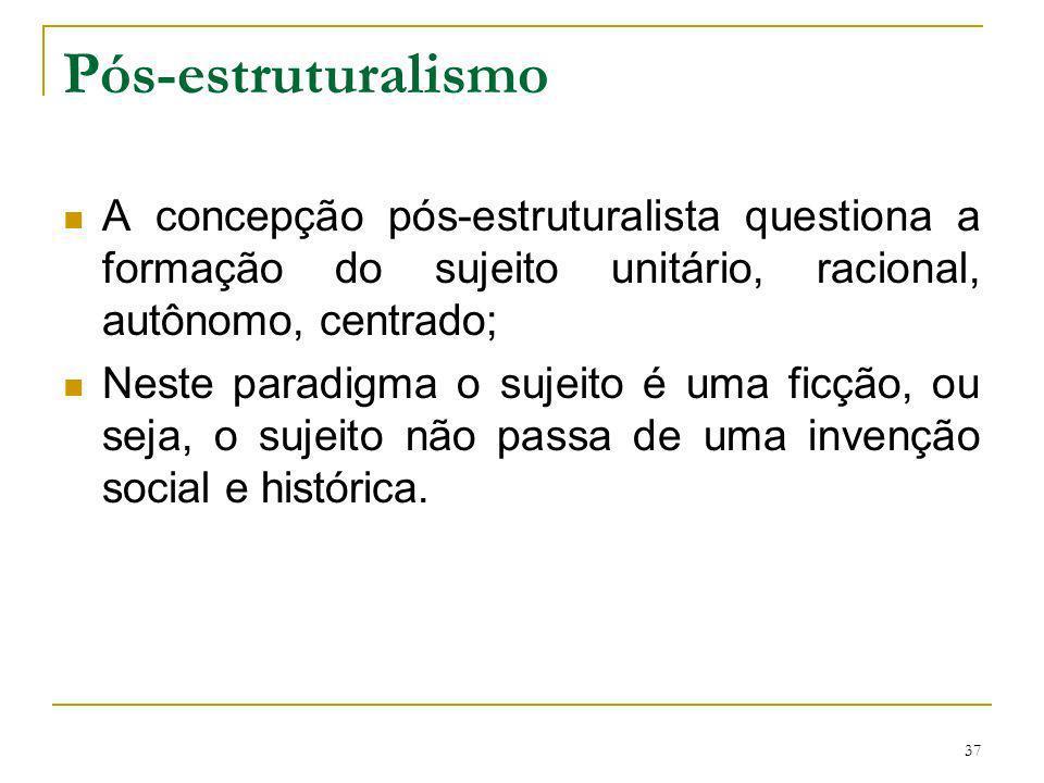 Pós-estruturalismo A concepção pós-estruturalista questiona a formação do sujeito unitário, racional, autônomo, centrado;