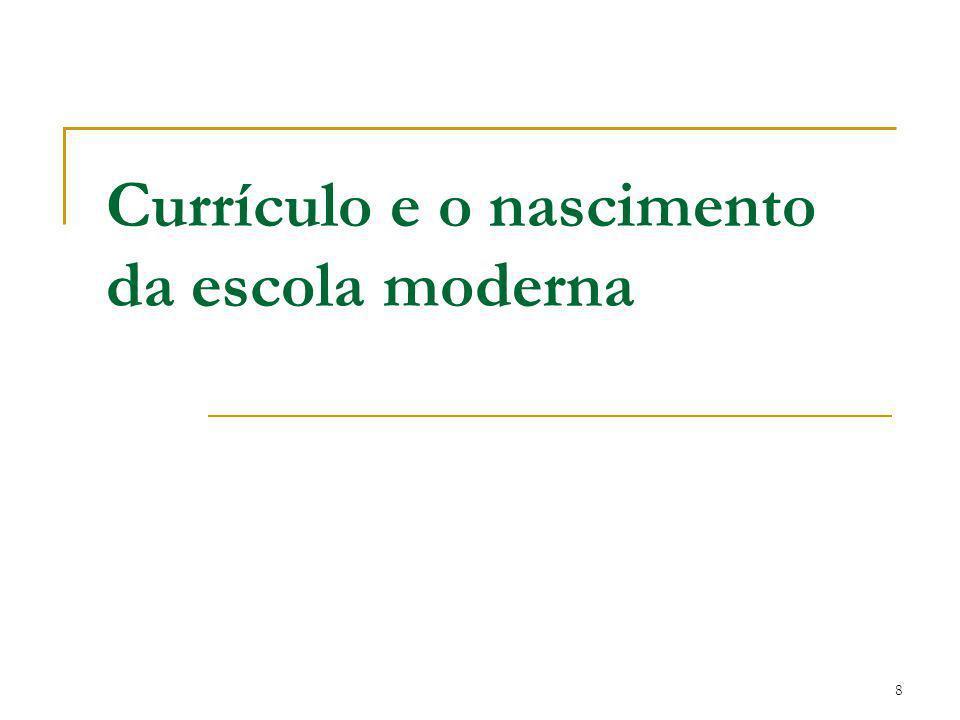 Currículo e o nascimento da escola moderna
