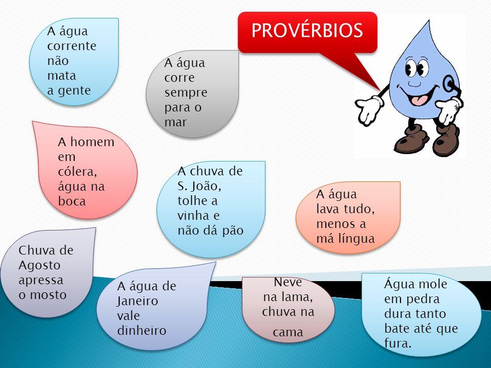 PROVÉRBIOS A água corrente não mata a gente
