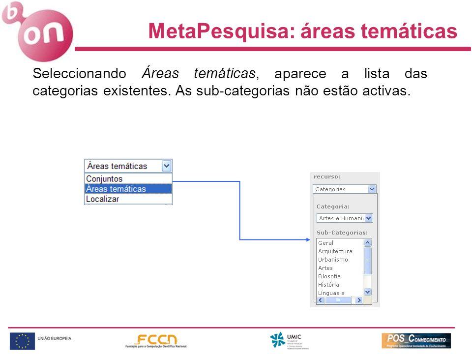 MetaPesquisa: áreas temáticas