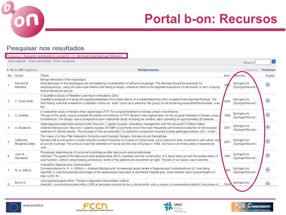 Portal b-on: Recursos