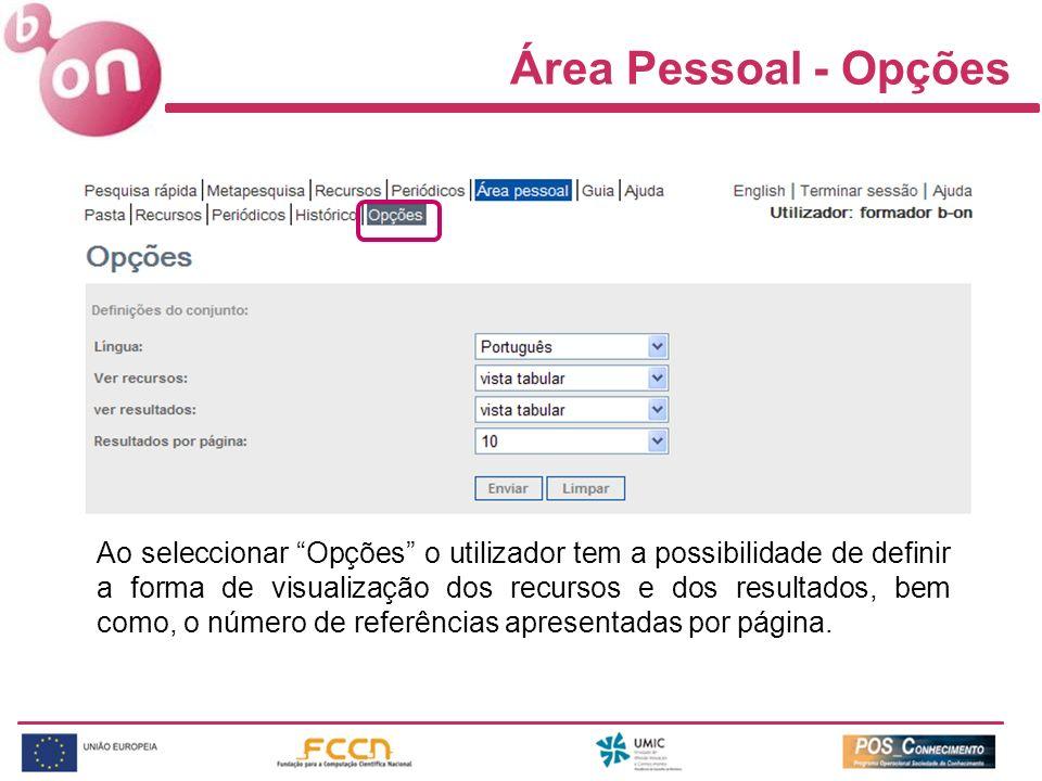 Área Pessoal - Opções