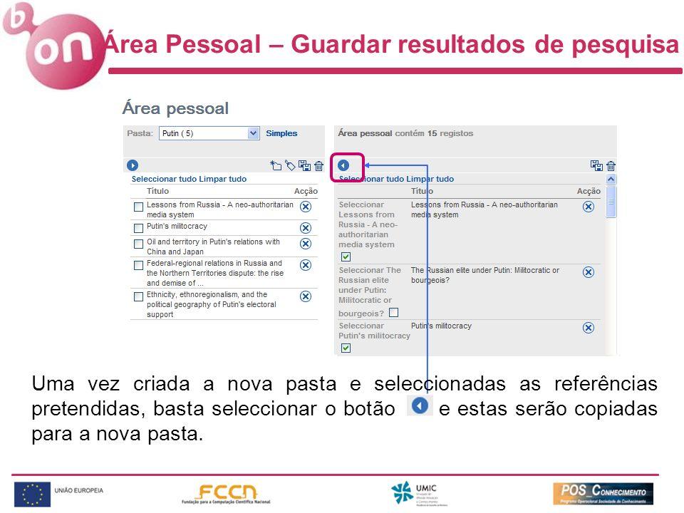 Área Pessoal – Guardar resultados de pesquisa