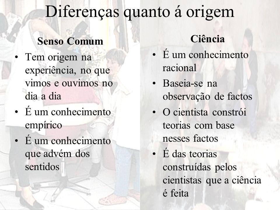 Diferenças quanto á origem