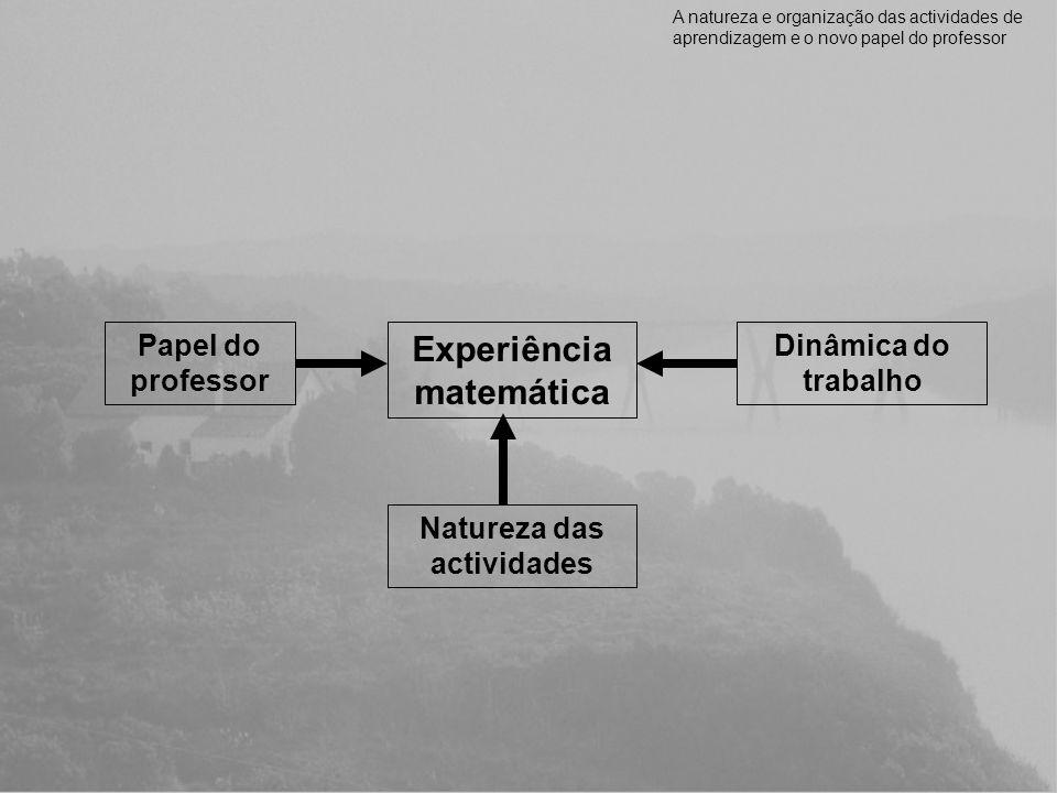 Experiência matemática Natureza das actividades