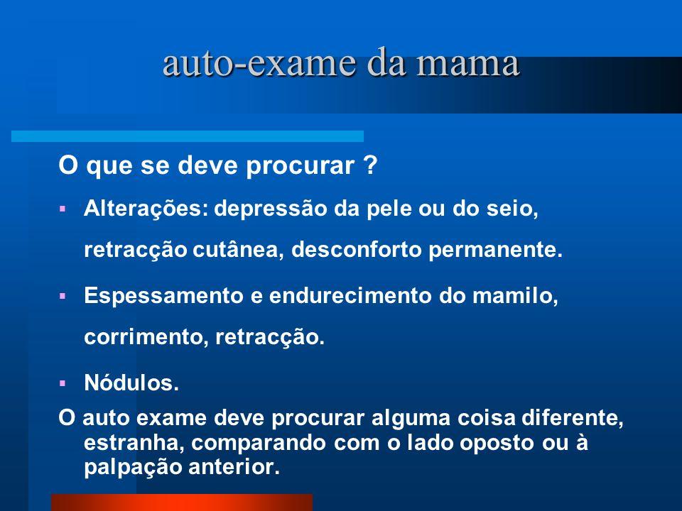 auto-exame da mama O que se deve procurar