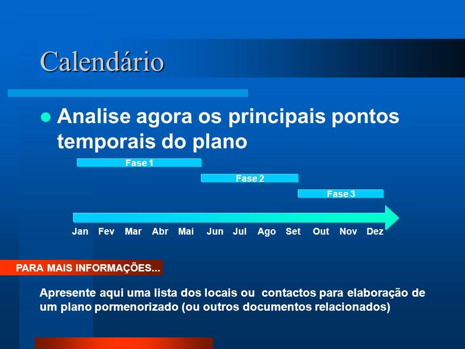 Calendário Analise agora os principais pontos temporais do plano