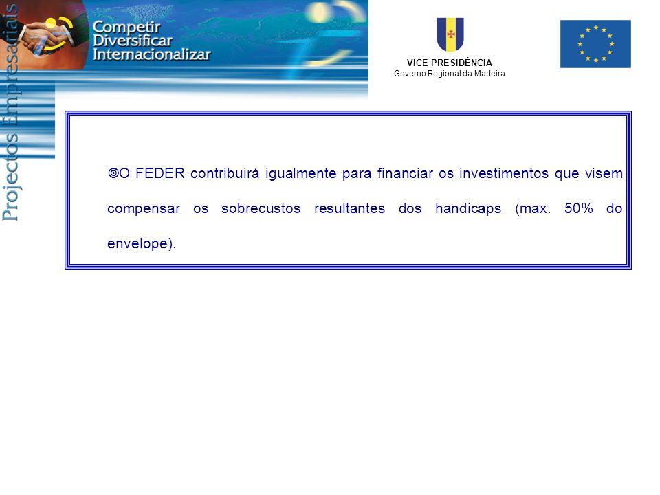 O FEDER contribuirá igualmente para financiar os investimentos que visem compensar os sobrecustos resultantes dos handicaps (max.