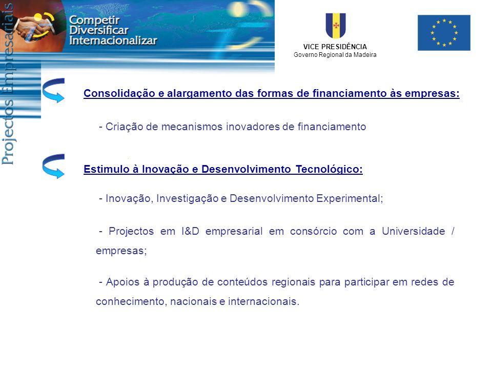 Consolidação e alargamento das formas de financiamento às empresas:
