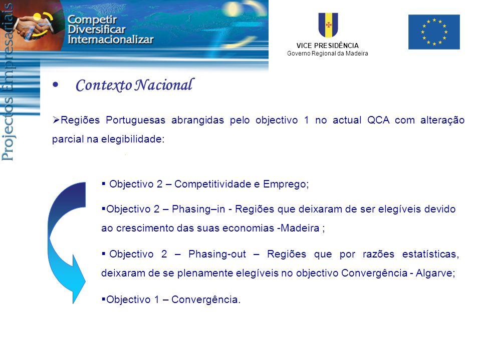Contexto Nacional Regiões Portuguesas abrangidas pelo objectivo 1 no actual QCA com alteração parcial na elegibilidade: