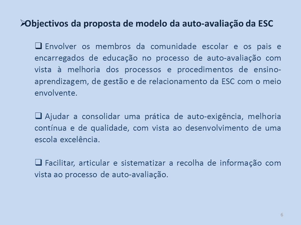Objectivos da proposta de modelo da auto-avaliação da ESC