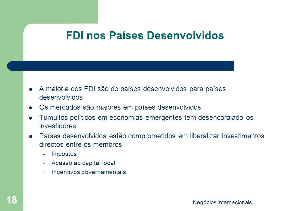 FDI nos Países Desenvolvidos