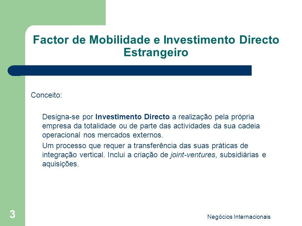 Factor de Mobilidade e Investimento Directo Estrangeiro