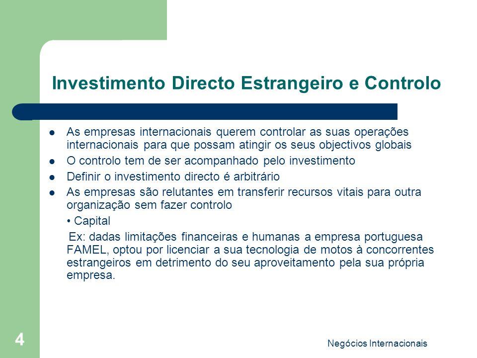 Investimento Directo Estrangeiro e Controlo