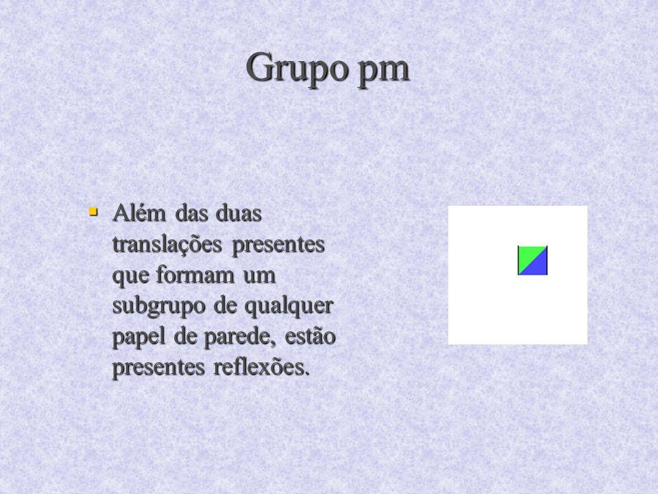 Grupo pm Além das duas translações presentes que formam um subgrupo de qualquer papel de parede, estão presentes reflexões.