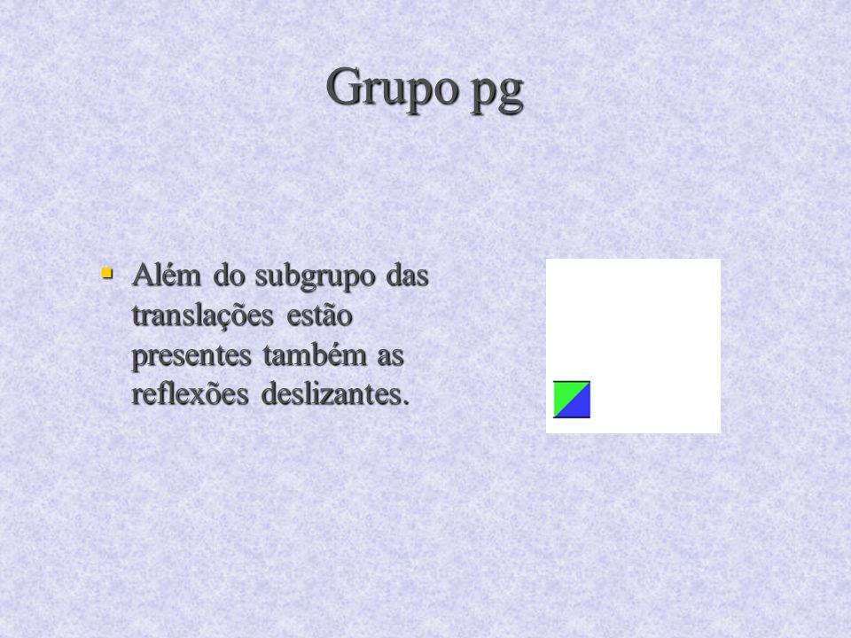 Grupo pg Além do subgrupo das translações estão presentes também as reflexões deslizantes.