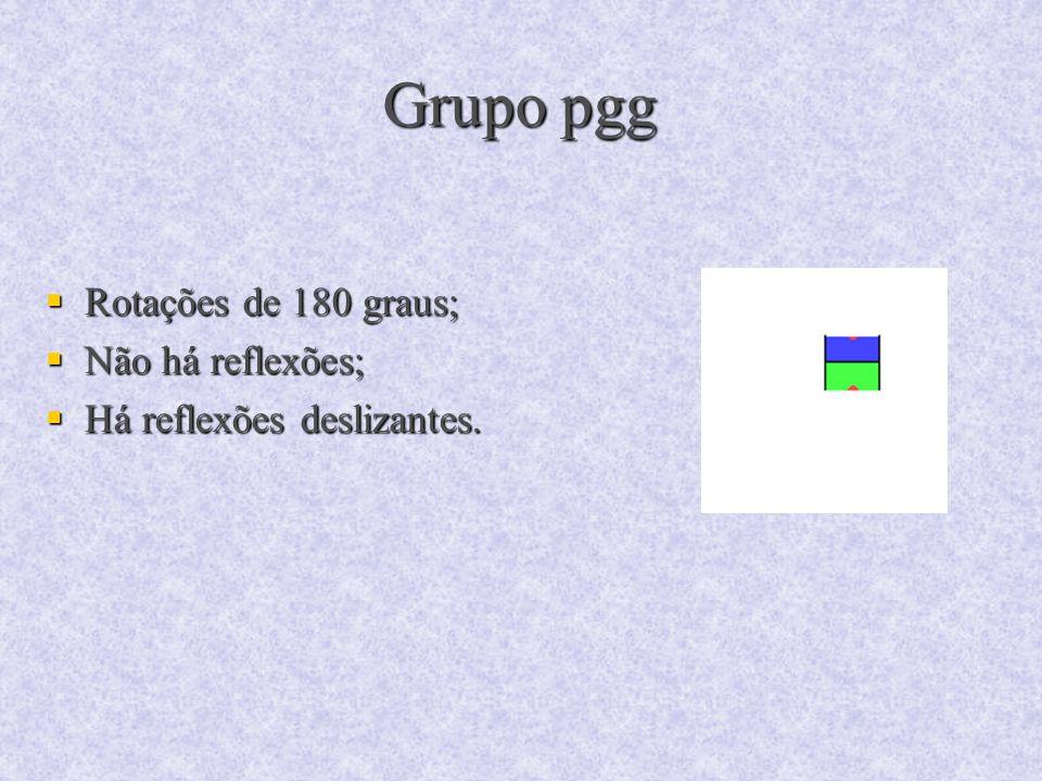 Grupo pgg Rotações de 180 graus; Não há reflexões;